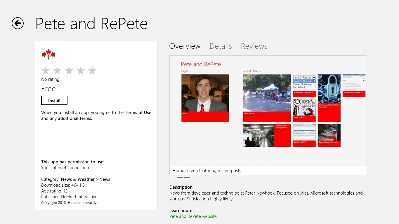 Pete and RePete App on the Windows Store