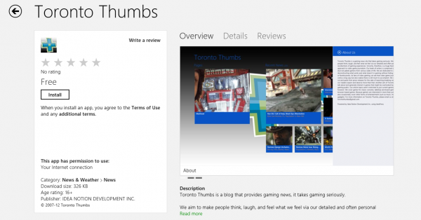 The Toronto Thumbs Win 8 App in the Windows Store!