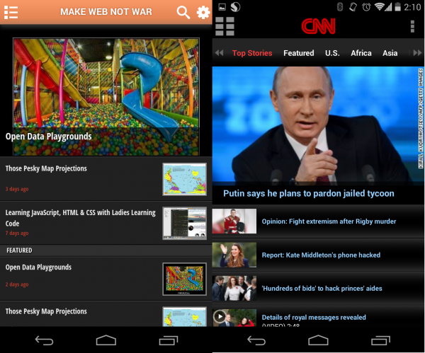 Comparison of the MWNW and CNN apps shows identical design and features