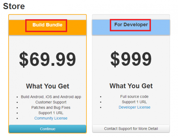 IdeaPress store page with build bundle and developer options