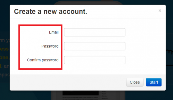 Email and password input in boxes