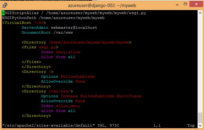 Azure code for Django